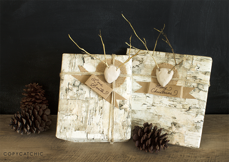 Copy Cat Chic Holiday Birch Gift Wrap with DIY Mini Stick Antler Gift Tags