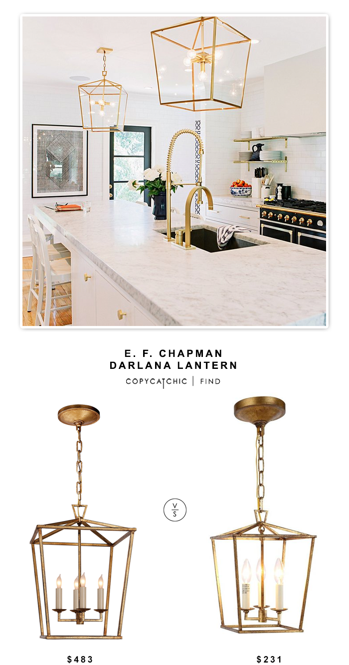 Circa Lighting E. F. Chapman Darlana Lantern $483 vs Home Depot Denmark Golden Iron Pendant $231