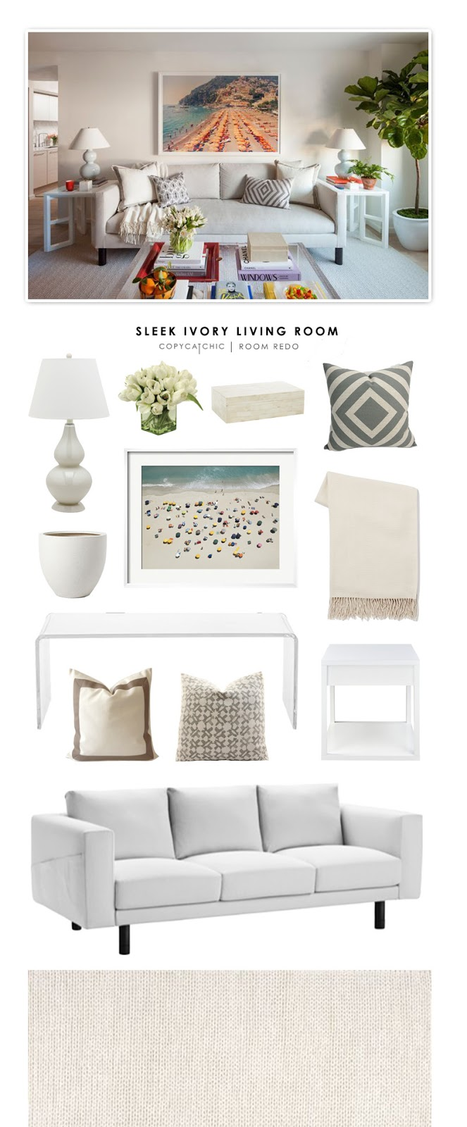 Copy Cat Chic Room Redo | Sleek Ivory Living Room - copycatchic