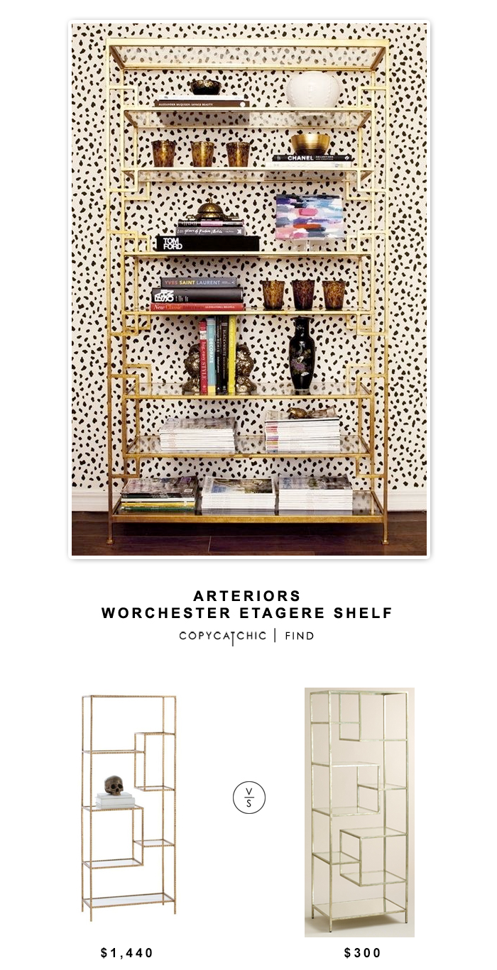 Domino Arteriors Worchester Gold Etagere $1,440 vs World Market Burnished Metal and Glass Asymmetrical Kali Shelf $300