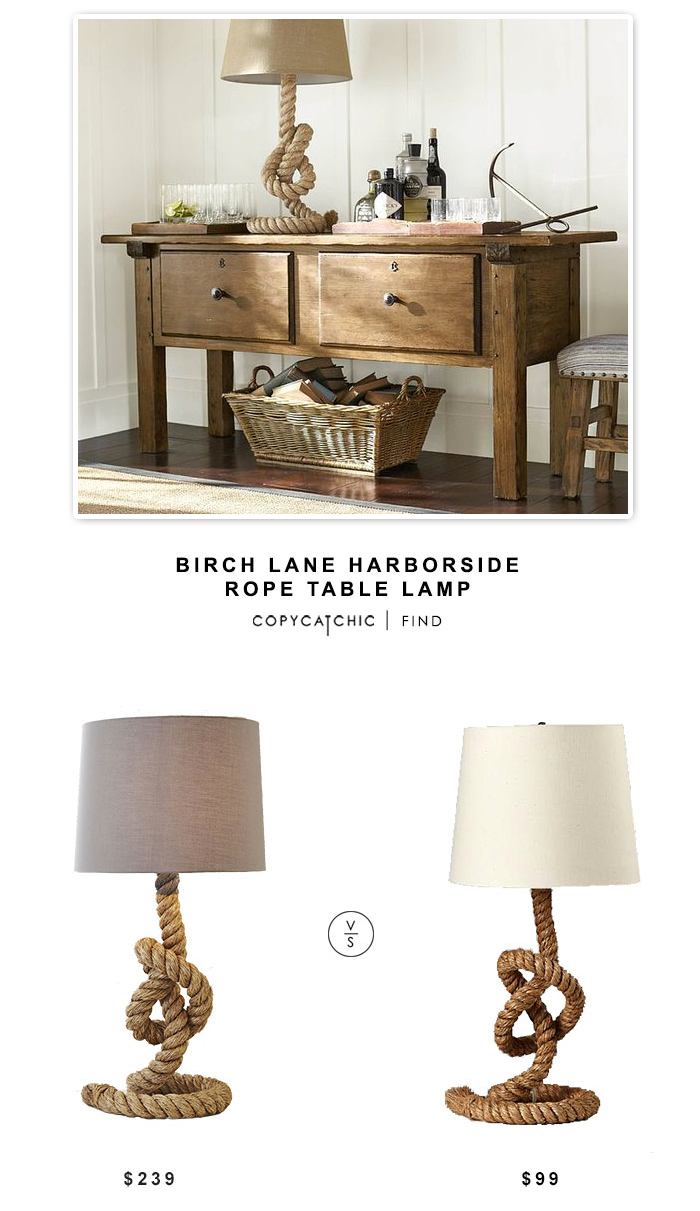 Wayfair Birch Lane Harborside Rope Table Lamp $239 vs Land of Nod Tug O Lamp $99