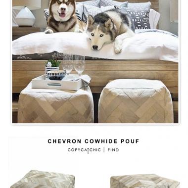 Chevron Cowhide Pouf