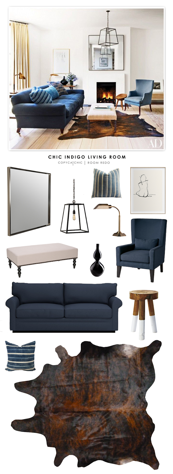A Chic Indigo Living Room designed by Rose Uniacke featured in Architectural Digest and recreated for less by Copy Cat Chic