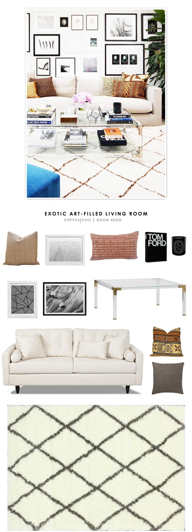 An Exotic Art-Filled Living Room featured on Design Sponge and recreated for less by Copy Cat Chic