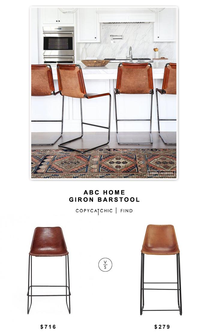 ABC Home Giron Leather Barstool $726 vs CB2 Leather Barstool $279