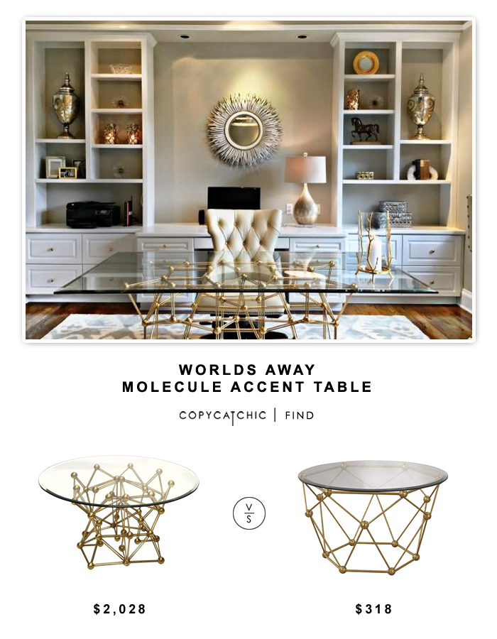 Domino Magazine Worlds Away Molecule Accent Table $2028 vs Overstock Sterling Molecular Table $318