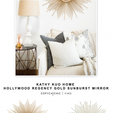 Kathy Kuo Home Hollywood Regency Gold Sunburst Mirror