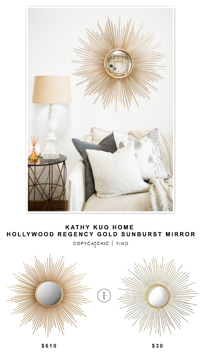Kathy Kuo Home Alessandra Hollywood Regency Gold Sunburst Convex Mirror $610 vs Target Metal Sunburst Mirror - Aged Gold $30