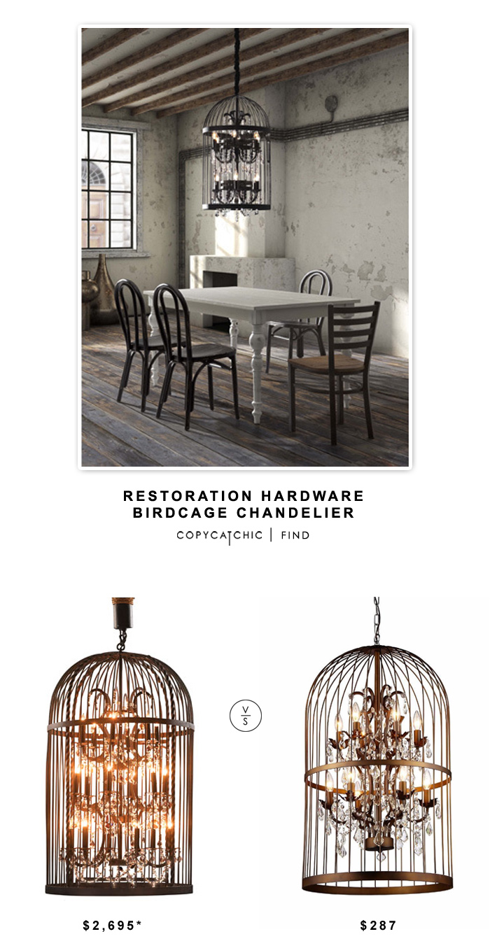 Restoration Hardware Birdcage Chandelier $2695 vs Overstock Warehouse of Tiffany Rinee III Cage Chandelier $287