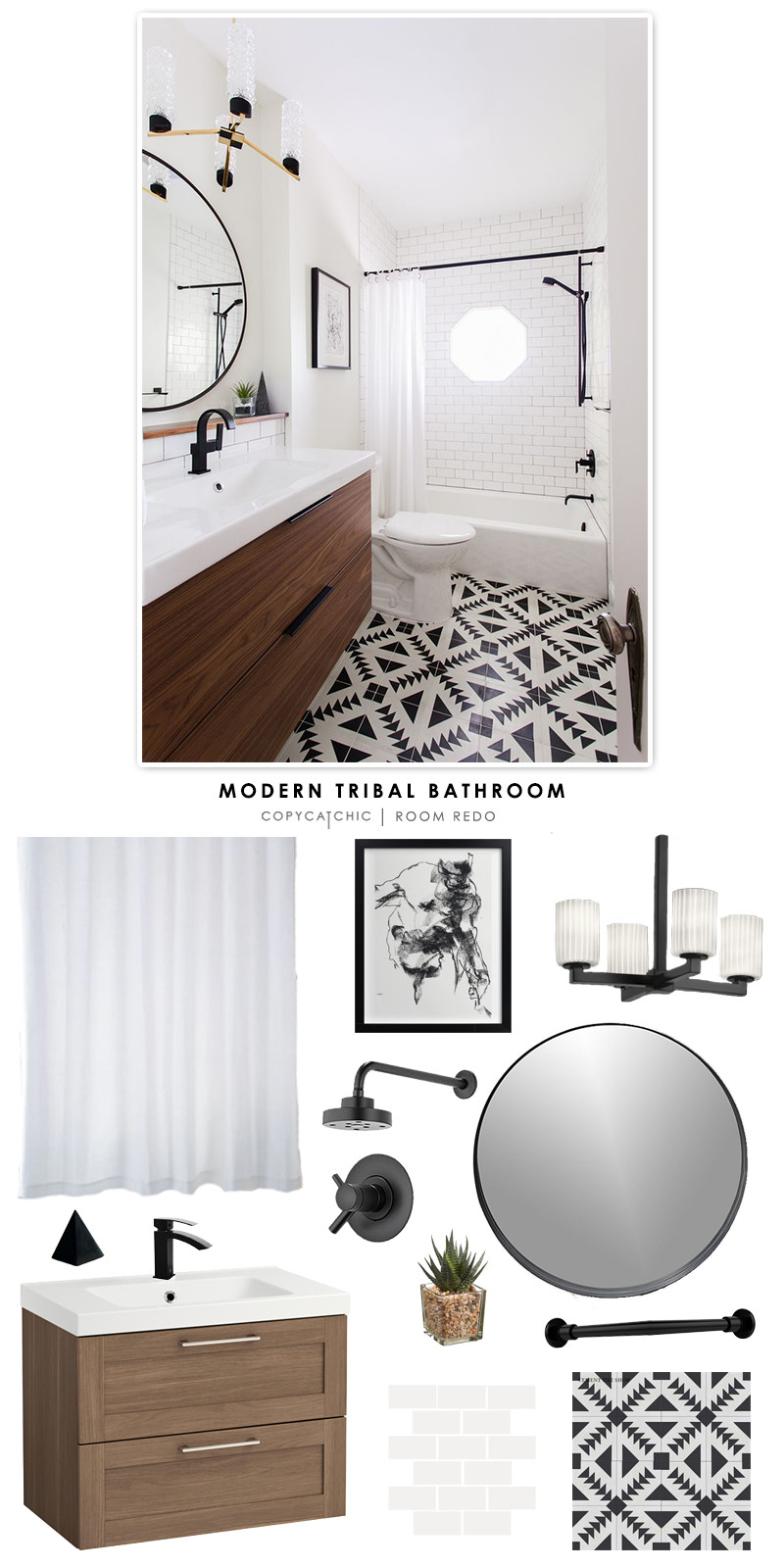 A modern black and white tribal bathroom design by Erin Williamson of Design Crisis recreated for less by Copy Cat Chic
