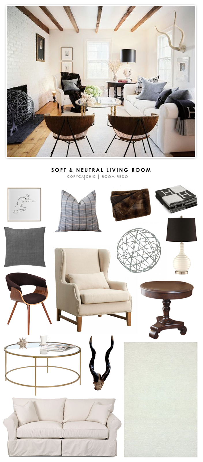 A soft and neutral living room featured in Lonny Magazine and recreated for less by Copy Cat Chic