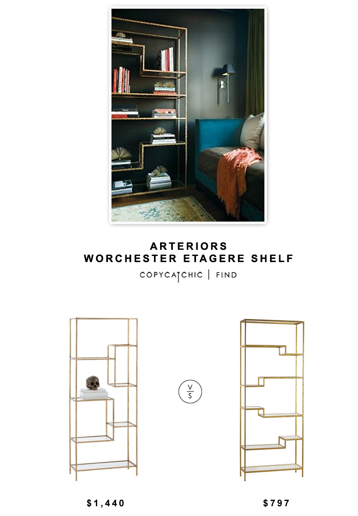 Domino Arteriors Worchester Etagere Shelf $1440 vs Zinc Door Gold and Mirrored Shelf $797