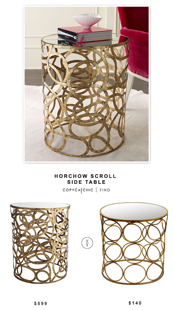 Horchow Scroll Side Table Copycatchic - Wayfair gold end table