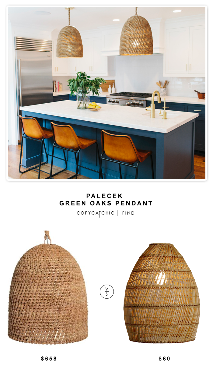 Palecek Green Oaks Pendant $658 vs Cost Plus World Market Basket Weave Bamboo Pendant Lamp $60