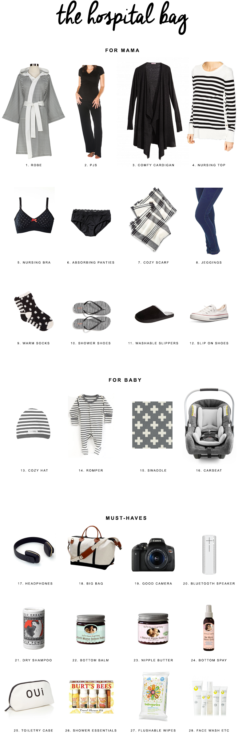 Hospital Bag Packing List | Everything you need and nothing you don't when packing your bag for the hospital for giving birth.