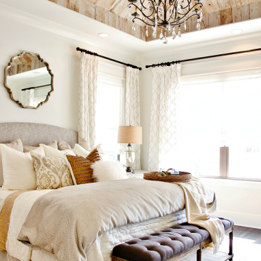 A rustic yet glamorous bedroom design by Refresh Home and featured on Thistlewood Farms gets recreated for less by Copy Cat Chic luxe living for less