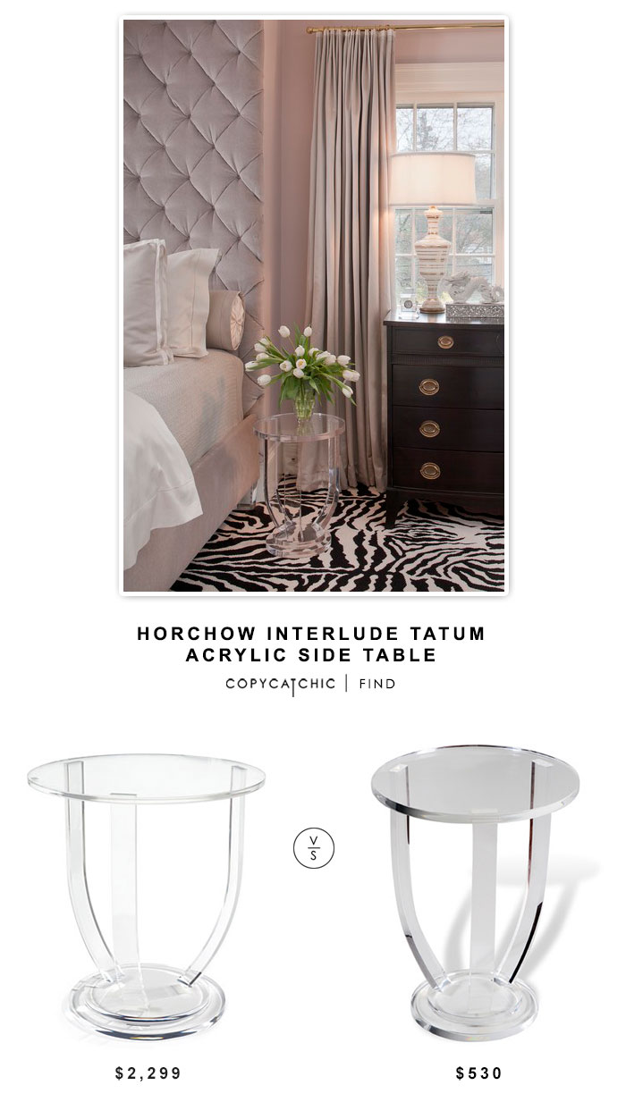 Horchow Interlude Tatum Acrylic Side Table $2299 vs Wayfair Interlude Lila End Table $530