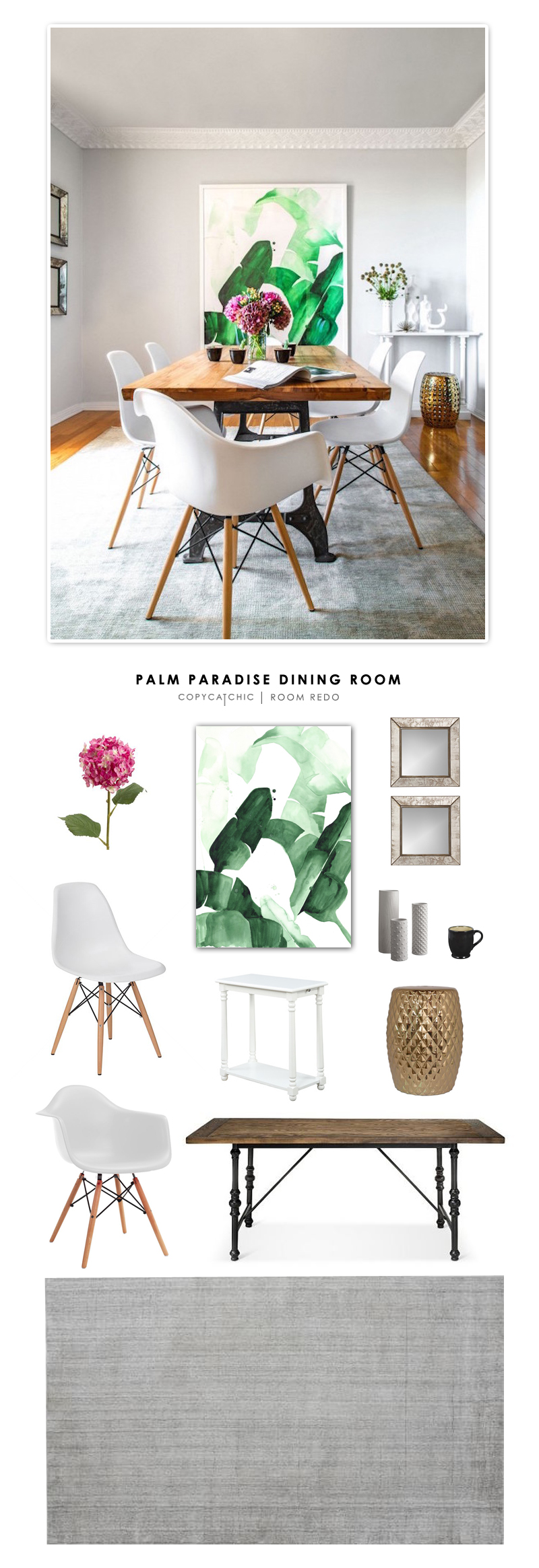 Copy Cat Chic Room Redo | Palm Paradise Dining Room - copycatchic