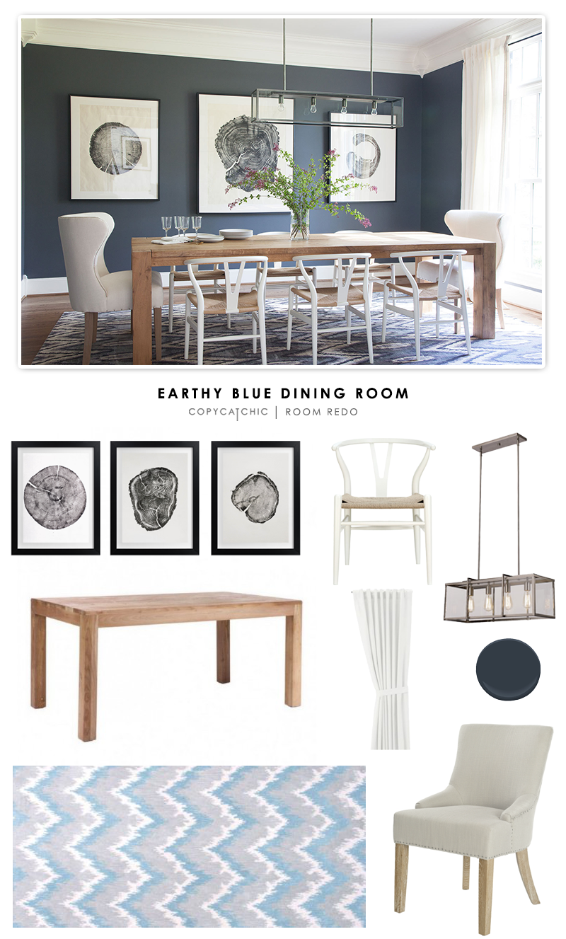 Copy Cat Chic Room Redo | Earthy Blue Dining Room - copycatchic