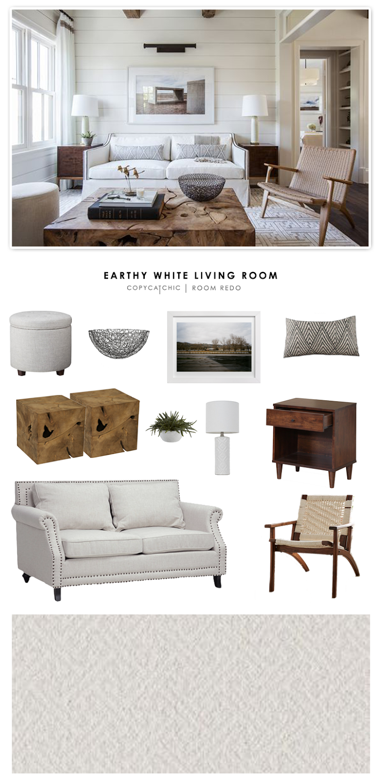 Copy cat chic room redo earthy white living room for Copy design