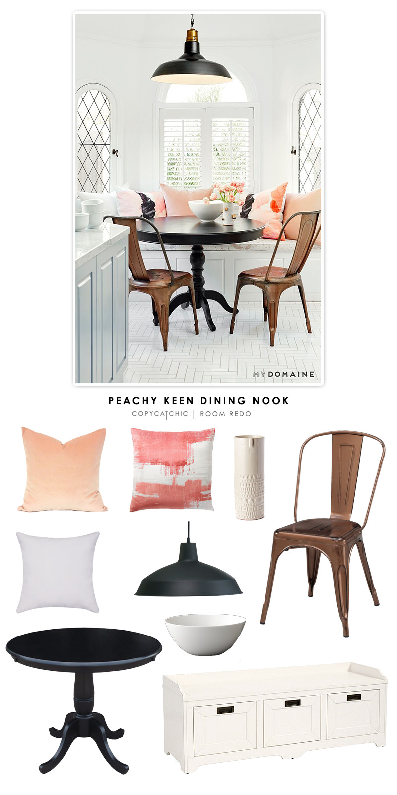Copy Cat Chic Room Redo | Peachy Keen Dining Nook - copycatchic