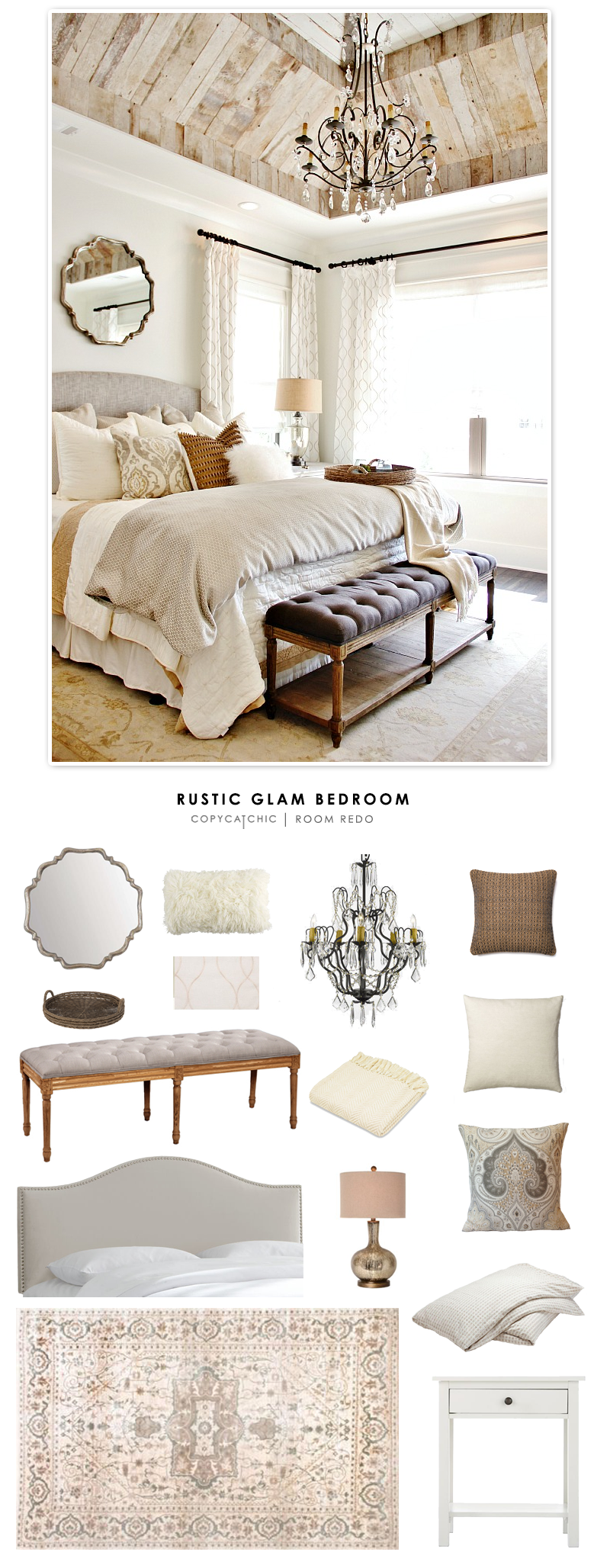 A rustic glam bedroom designed by Refresh Home and featured by Thistlewood Farms recreated for less by Copy Cat Chic.