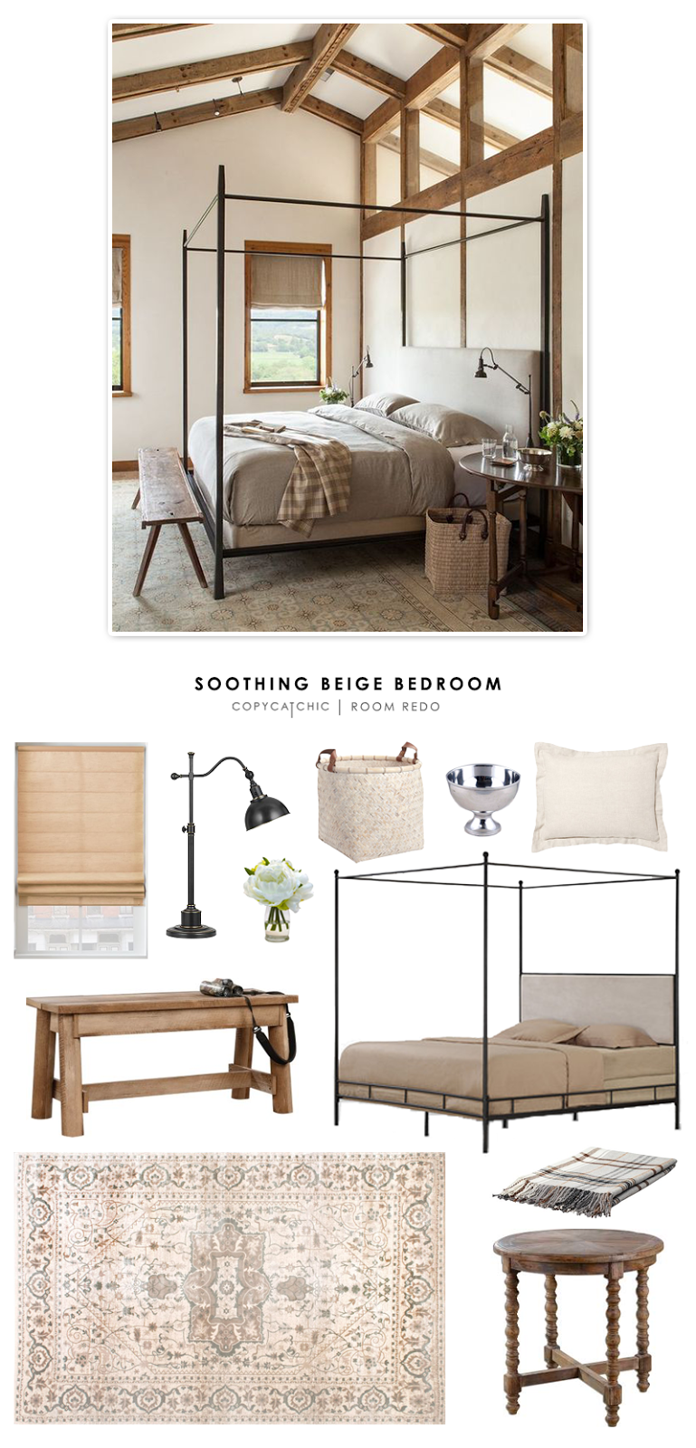 A Soothing Beige Bedroom featured by Emily Henderson and recreated by Copy Cat Chic for less.