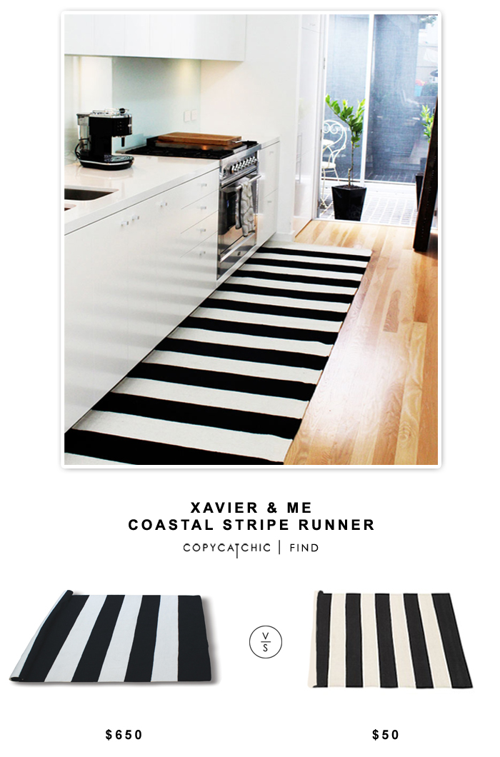 Xavier & Me Costal Stripe Runner $650 vs Pottery Barn Olin Rug $50 or Home Depot Safavieh Montauk Black Ivory Rug Runner $56
