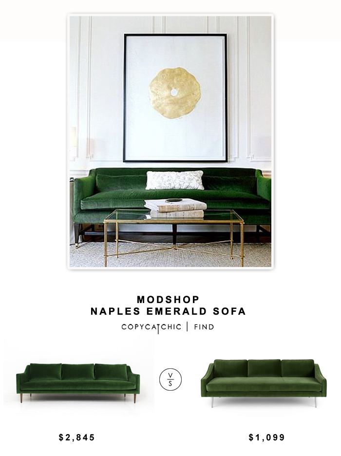 Modshop Naples Emerald Sofa $2845 vs Bryght Mirage Sofa $1099