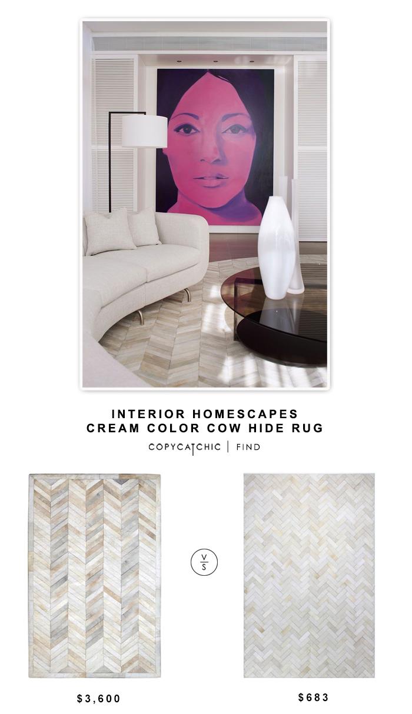 Interior Homescapes Cream Cow Hide Rug