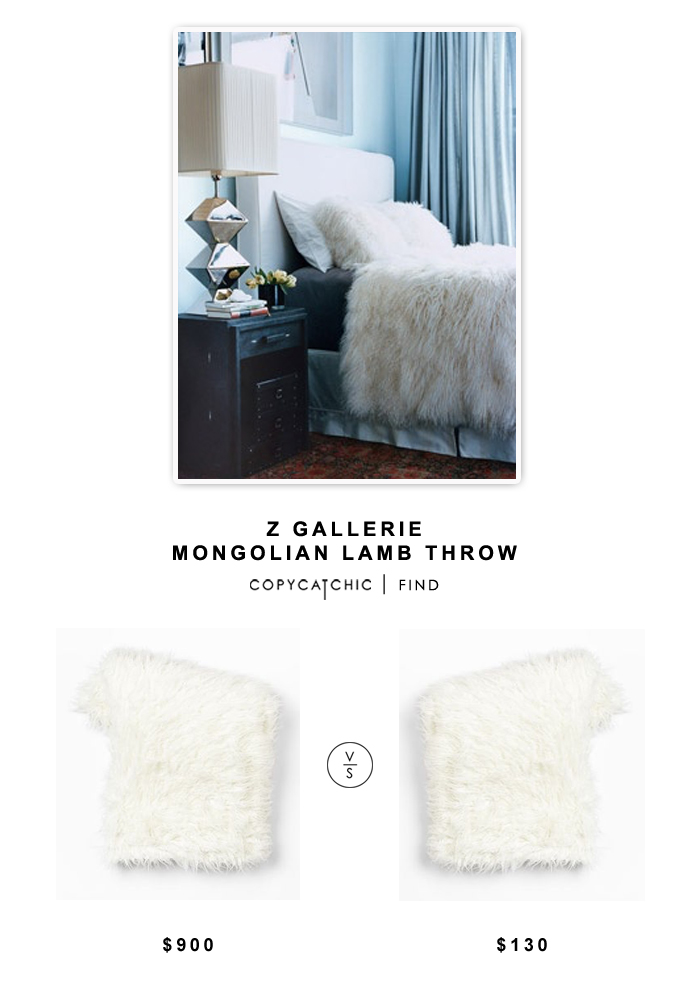Z Gallerie Mongolian Lamb Throw $900 vs Wayfair Berkshire Blanket Mongolian Luxe Throw $125