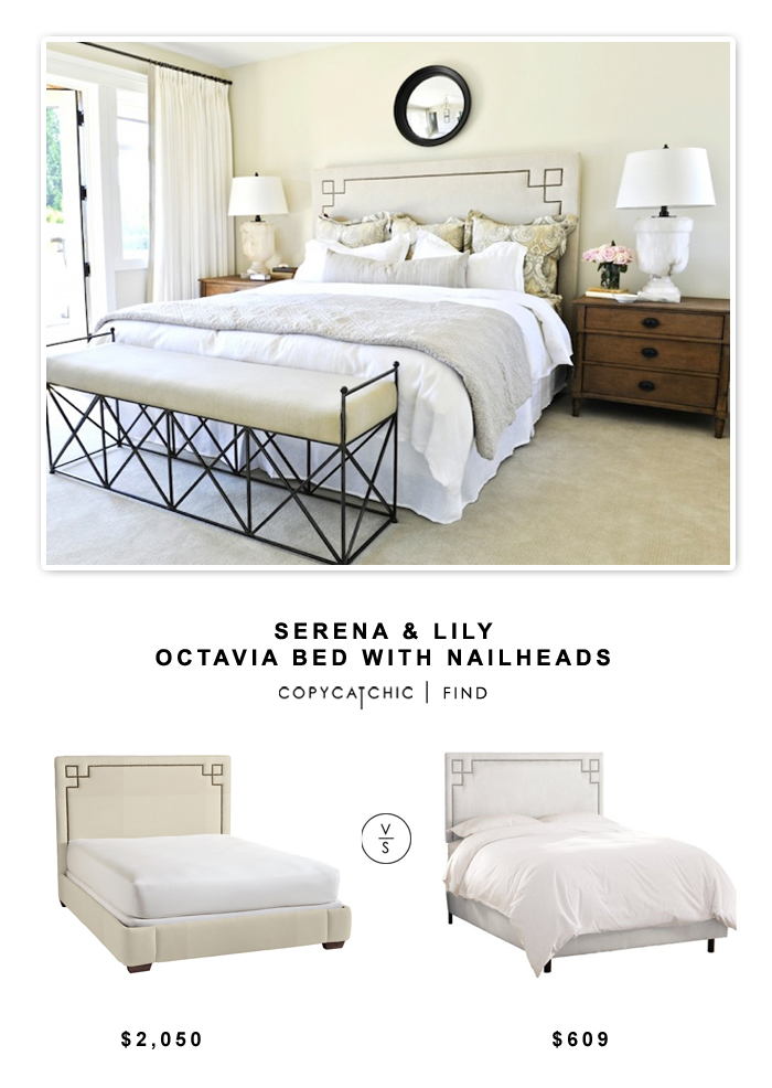Serena & Lily Octavia Bed with Nailheads $ 1850 vs One Kings Lane Aiden Nail-head Bed $609