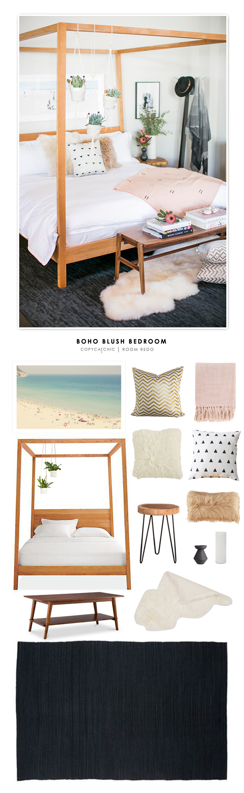 A Boho Blush Bedroom by Room and Board recreated for less by Copy Cat Chic