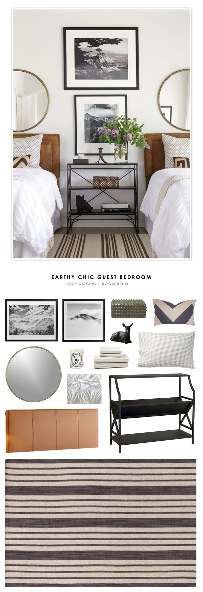 An earthy chic guest bedroom designed by Andrew Brown and recreated for less by Copy Cat Chic.