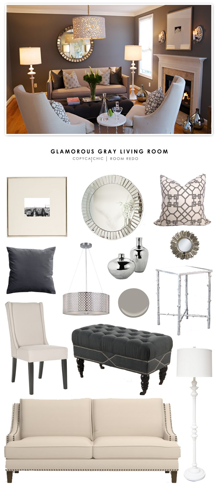 Heather Garrett's glamorous gray living room is recreated for less on Copy Cat Chic