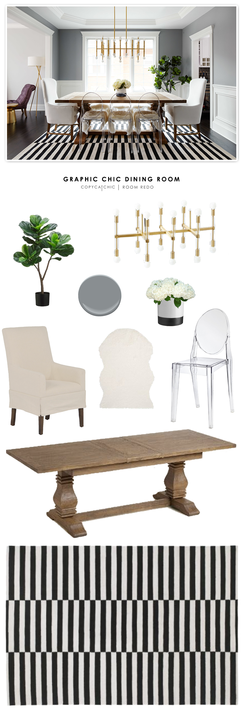 A graphic, chic dining room by Homepolish recreated for less by Copy Cat Chic