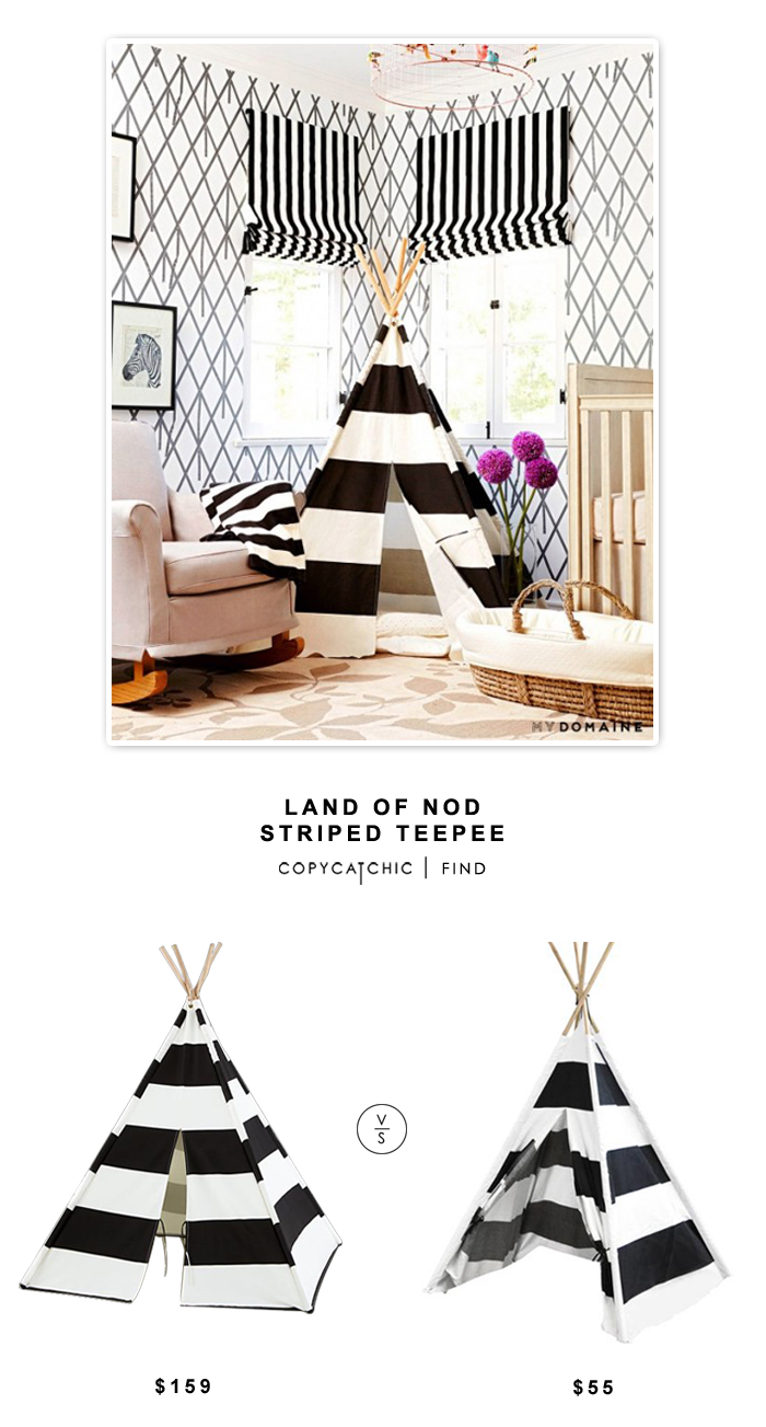 Land of Nod Striped TeePee $159 vs Walmart American Kids Rugby Striped Tee-pee Tent $55 | Copy Cat Chic Look for less