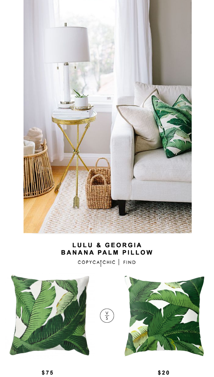 Lulu and Georgia Banana Palm Pillow vs The Pillow Co Green Palm Leaf Pillow $20 | Look for less by Copy Cat Chic