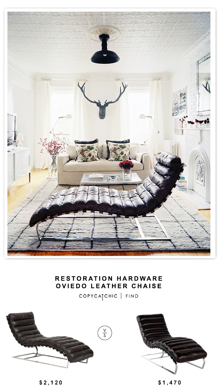 Restoration Hardware Oviedo Leather Chaise $2120 vs Overstock Toscana Leather chaise $1470 | look for less by Copy Cat Chic