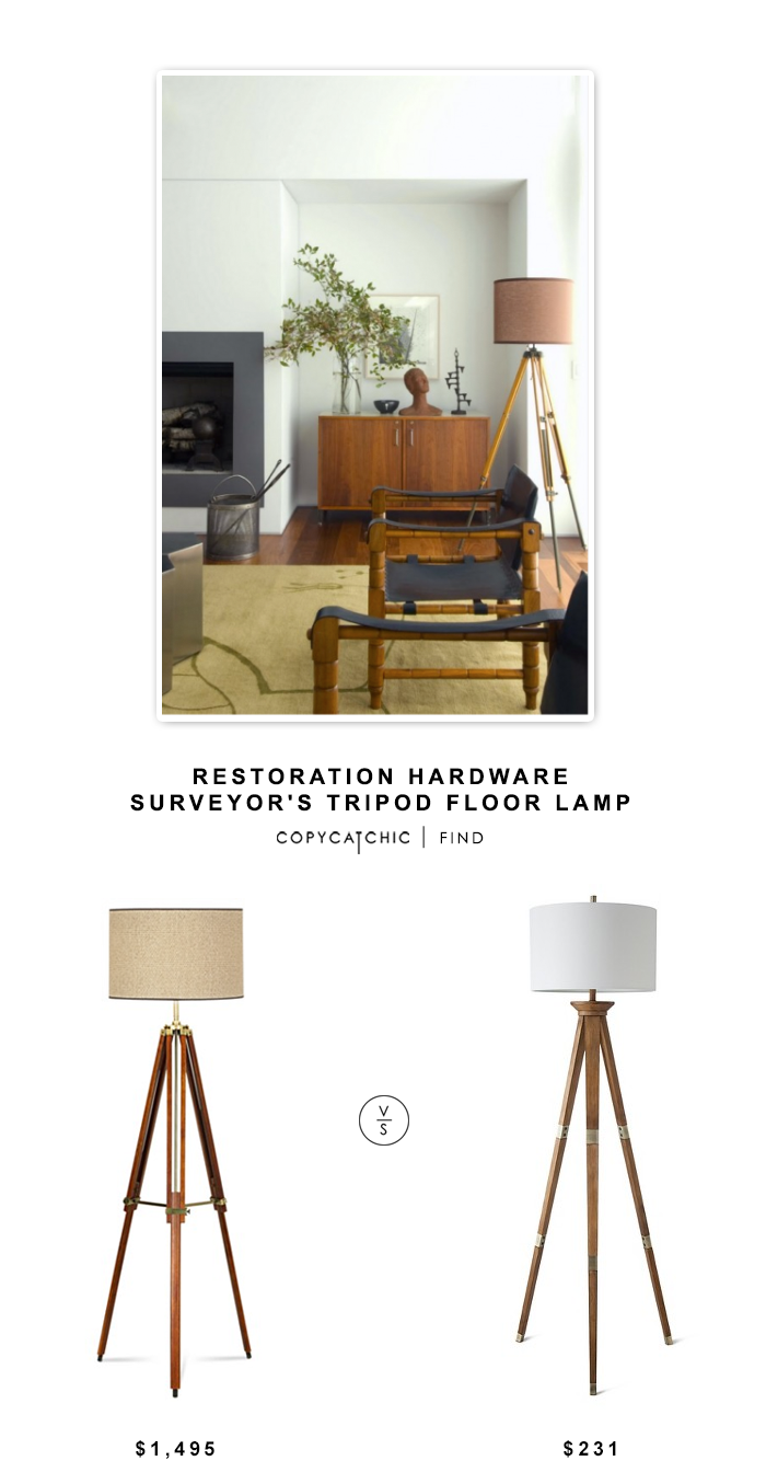 Restoration Hardware Surveyor's Tripod Floor Lamp $1,495 vs Target Threshold Tripod Floor Lamp $76