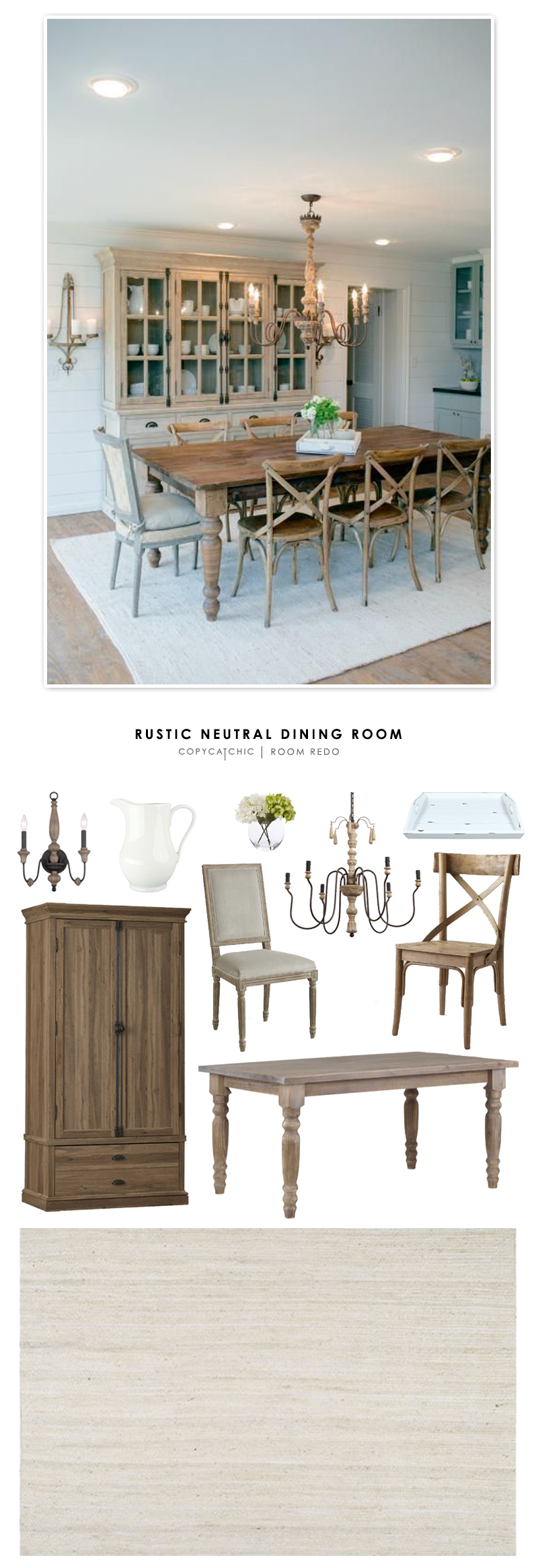 A fixer upper style rustic neutral dining room recreated for less by Copy Cat Chic.