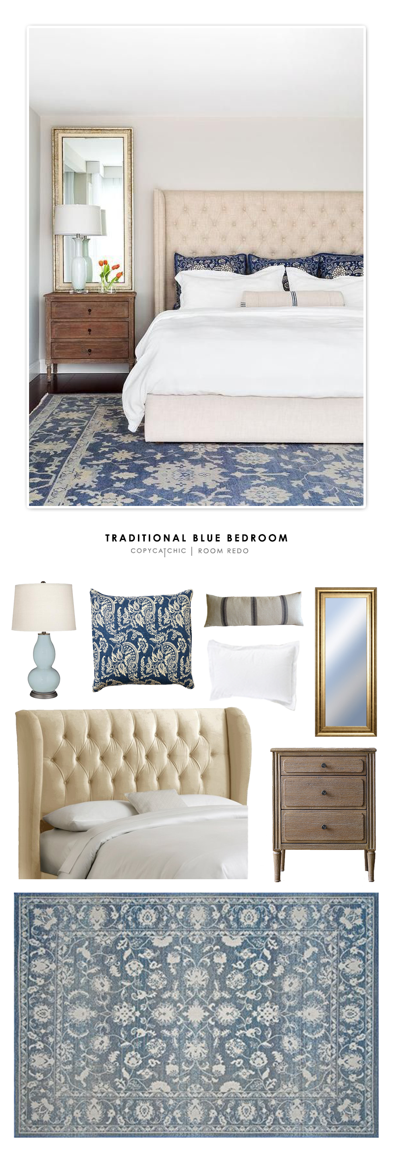 A Cozy Traditional Blue Bedroom Featured On HGTV And Designed By Chango Co Recreated For