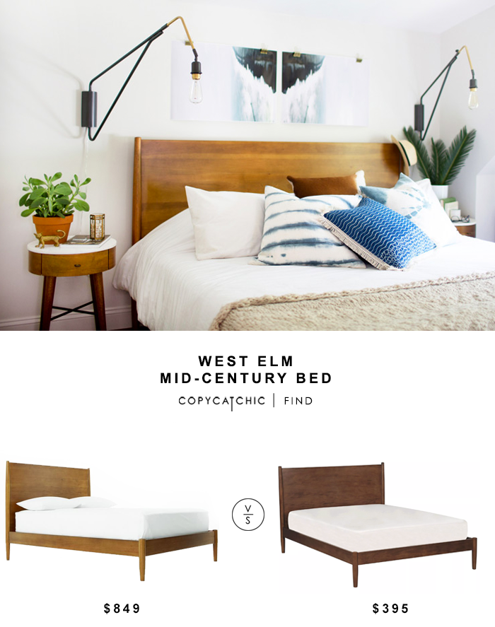 west elm mid century bed 999 vs living spaces alton cherry queen platform bed 349