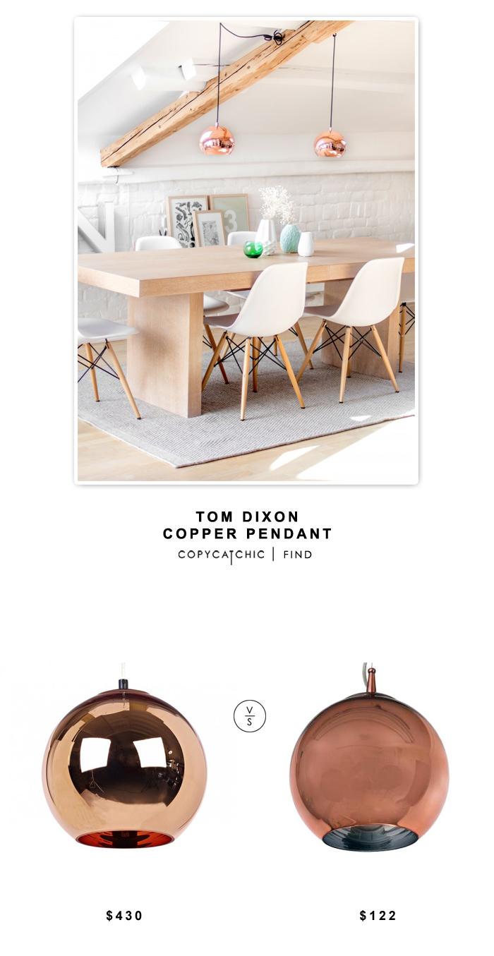 Tom DIxon Copper Pendant $430 vs Home Depot Control Brand Gold Pendant $122