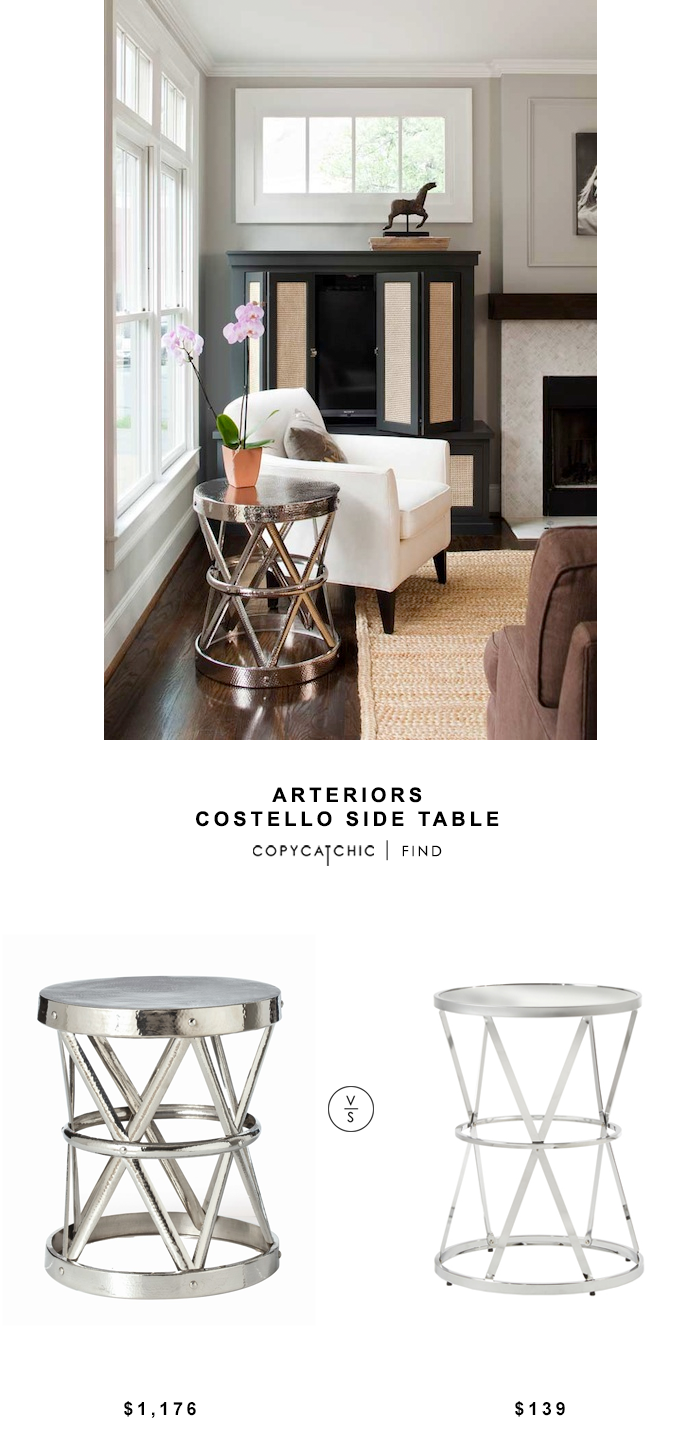 Interor Homescapes Arteriors Costello Iron Side Table $1176 vs Overstock INSPIRE Q Berke Mirrored Top Round End Side Table $139 | copy cat chic look for less