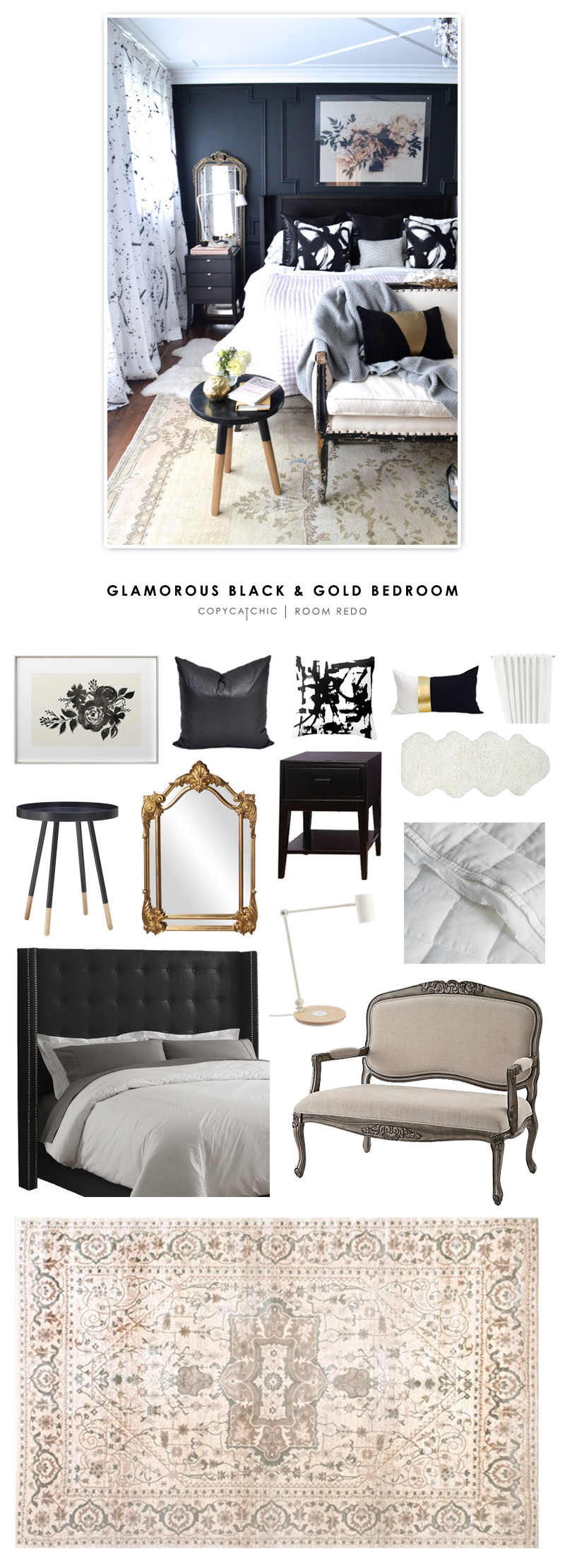 Copy Cat Chic Room Redo Glamorous Black And Gold Bedroom