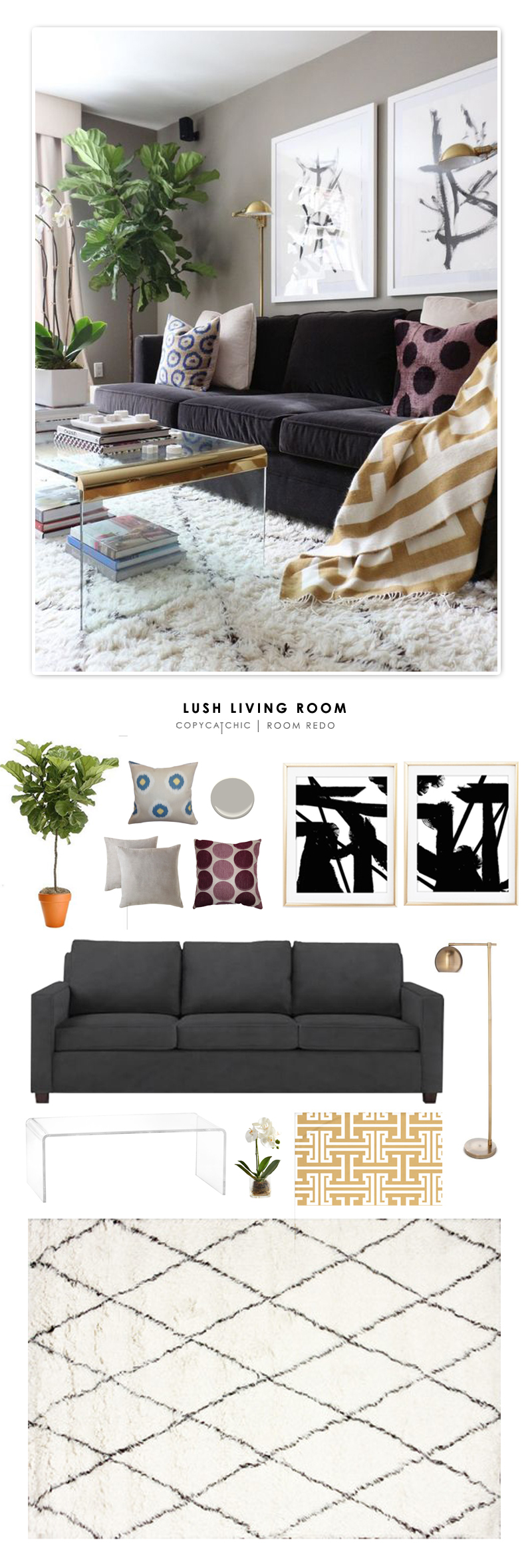 A lush living room designed by Victoria Solomon and recreated for less by Copy Cat Chic