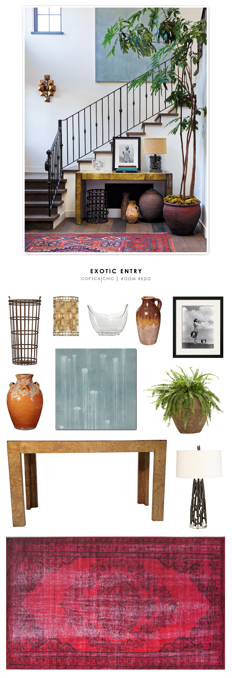 An eclectic, exotic entryway designed by Vanessa Alexander and recreated for less by Copy Cat Chic