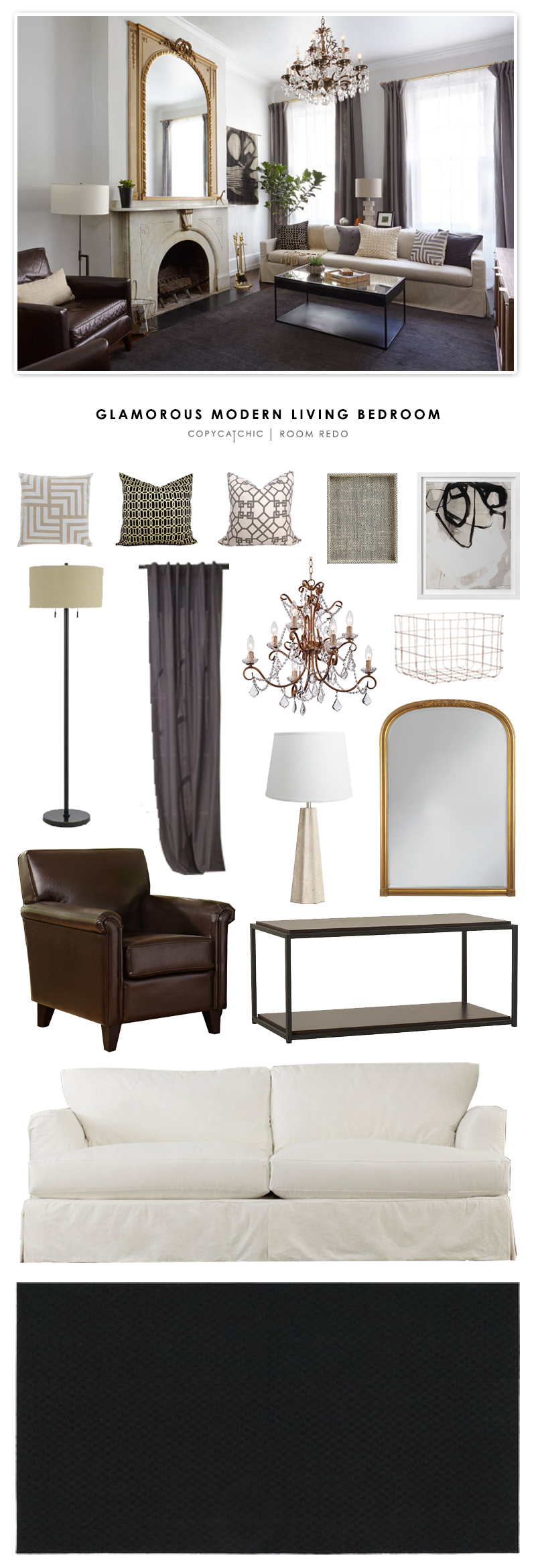 Copy cat chic room redo glamorous modern living room for Glam modern living room