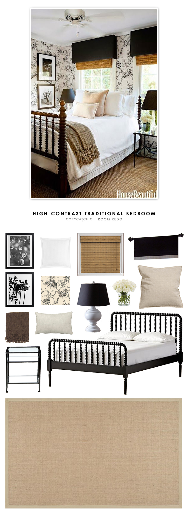 A modern country chic guest bedroom in black and white designed by Tobi Tobin and featured in House Beautiful. Recreated for less by Copy Cat Chic